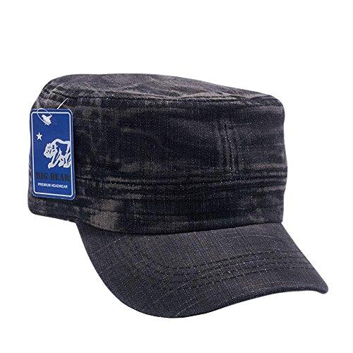 Army Cadet Castro Hat Military Cotton Plain Cap Washed Black Denim