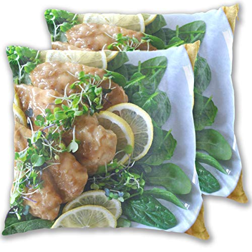 Unspecified 1 Chicken Entree Recipes Sofa Lemon Throw Pillow Cover, Cotton Square Home Decor Pillowcases for Sofa Bedroom Car, Set of 2 (18''x18'') -