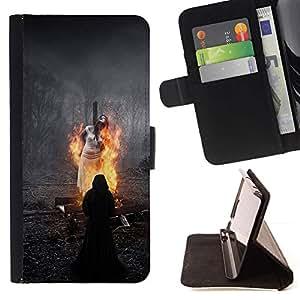 For LG G3 Case , Bruja Fuego Magia Oscura Negro- la tarjeta de Crédito Slots PU Funda de cuero Monedero caso cubierta de piel