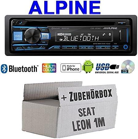 Autoradio Radio Alpine Cde 203bt Bluetooth Cd Usb Mp3 1 Din Auto Einbauzubehör Einbauset Für Seat Leon 1m Just Sound Best Choice For Caraudio Navigation