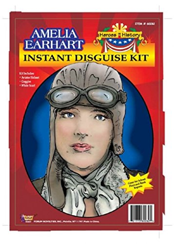 Child Heroes in History Instant Disguise Kit - Amelia Earhart - Aviator Helmet, Goggles, and White Scarf