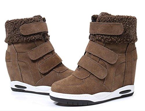 velcro Corea cuero la más de NSXZ grueso botas femenina dentro de de con mate fondo con aumento pendiente de terciopelo botas de zapatos BpwfTn