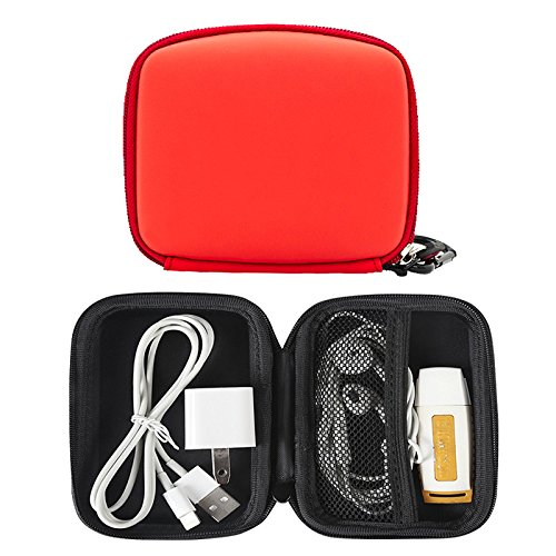 Price comparison product image Portable Protection Hard Earphone Case, Multifunction Hard Travel Carrying Case, Storage Bag for Bluetooth / Wired Headset Earbuds MP3 Accessories (Red)