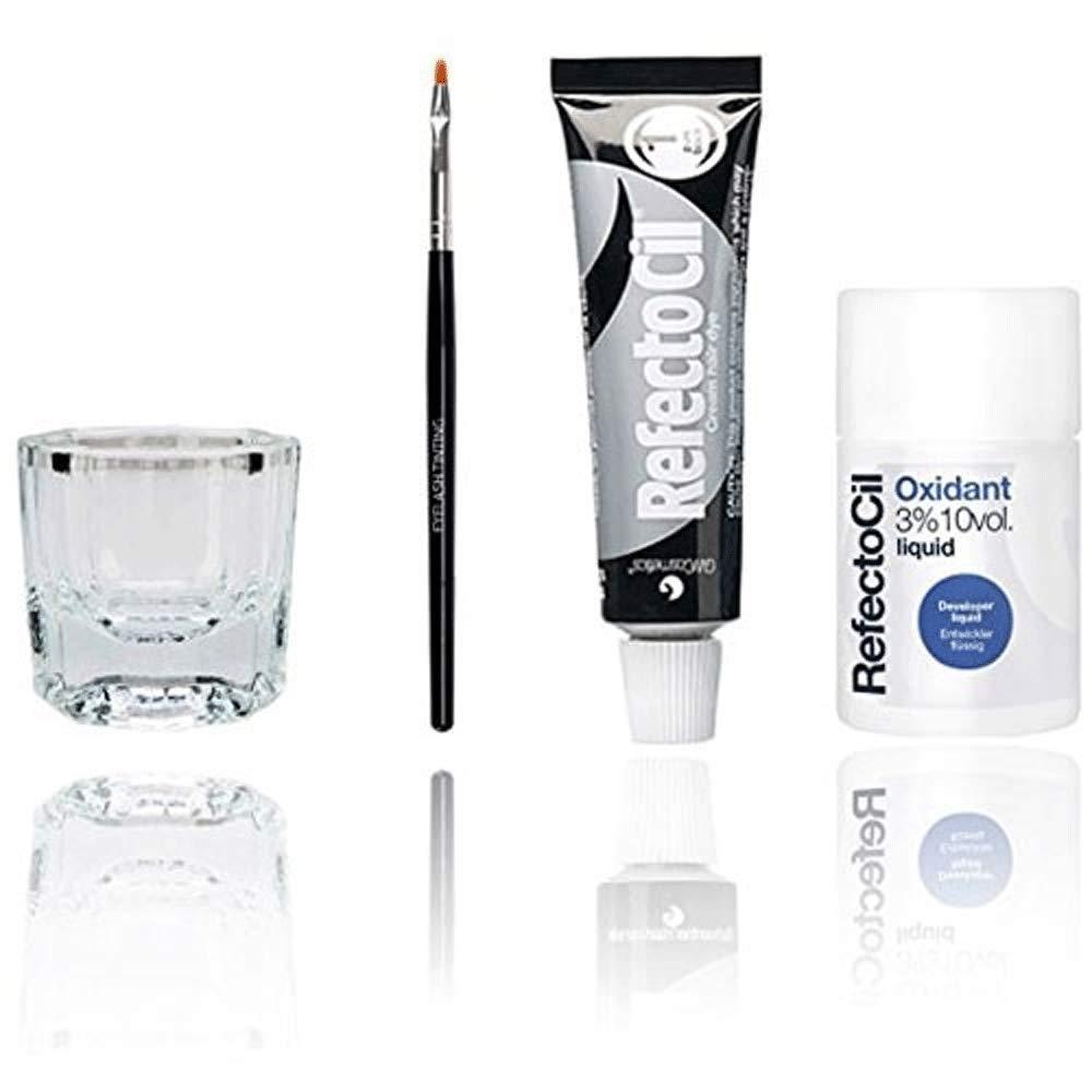 Refectocil Eyelash Eyebrow Tint Dye Kit Pure Black No.1 + Brush Dish Developer by Refectocil