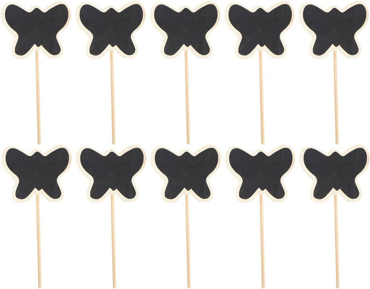 Exceart 20pcs Mini Wood Chalkboard Gardening Plant Tags Garden Decorative, Flower Tags Price Stake Plant Marker Butterfly
