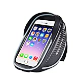 Rocontrip Bike Bag, Front Frame Pouch with Touchscreen Phone Holder for iPhone 7 6S, Waterproof Bike Handlebar Bag for Cycling, Biking or Cyclists - Black