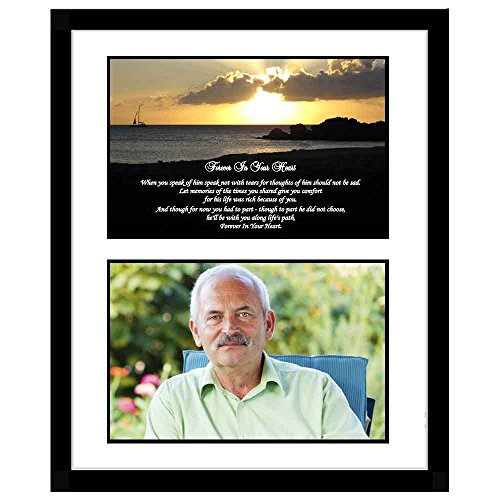 Sympathy Gift for Him - Forever in Your Heart Condolence Poem in Black Frame - Add Photo