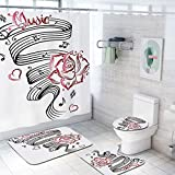 Tattoo Decor 69x84 inch Shower Curtain Sets,Pencil Drawing Romantic Hourglass Symbol of Eternal Love with Roses Print Toilet Pad Cover Bath Mat Shower Curtain Set 4 pcs Set,Black and White
