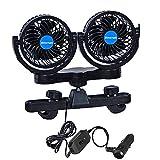 Car Fan, 360 Degree Rotatable 2 Speed Dual Head Car Auto Cooling Air Circulator Fan for Rear Seat Passenger