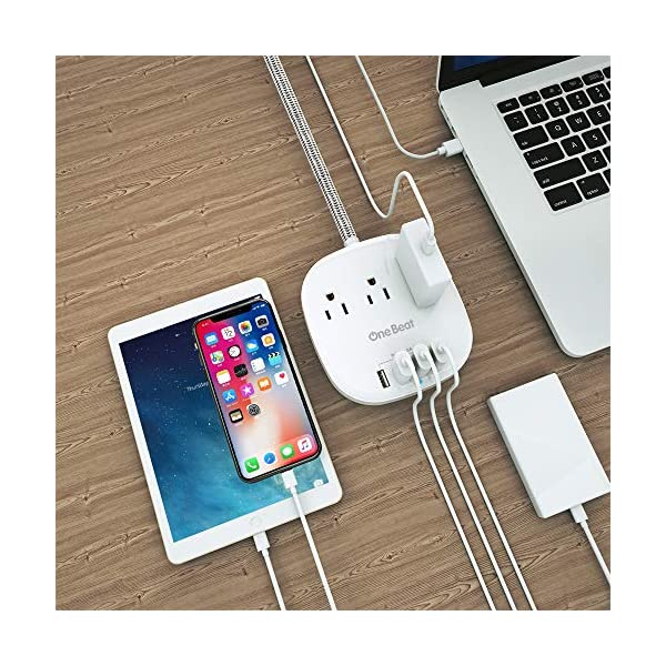 Power Strip 2 Pack, Desktop Charging Station with 3 Outlet 4 USB Ports 4.5A, Flat Plug, 5 ft Long Braided Extension Cord for Cruise Ship Travel Home Office, ETL Listed, White 7