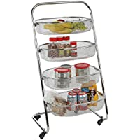 Mind Reader 4 Tier Metal Wire Rolling Basket All Purpose Utility Cart Rack, Silver