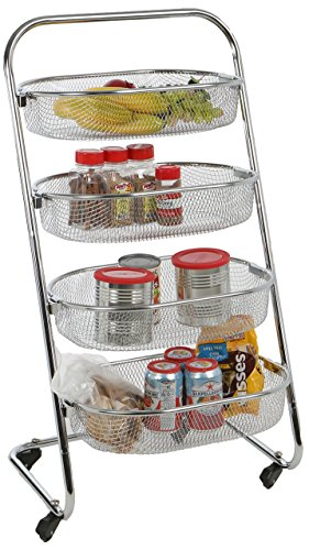 (Mind Reader 4 Tier Metal Wire Rolling Basket All Purpose Utility Cart Rack, Silver)