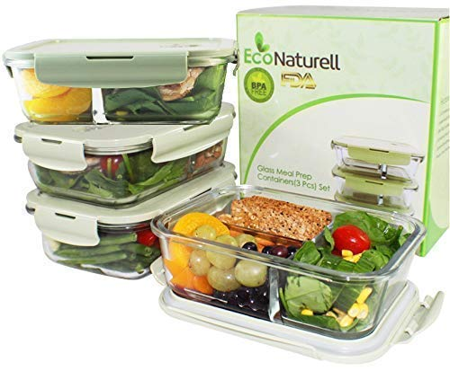 3 & 2 Compartments Glass Meal Prep Containers (3-Pack) | Airtight Glass Food Storage Containers with Lids | BPA-FREE Leakproof Bento Box Glass Lunch Box Compartments | Freezer, Oven, Microwave Safe