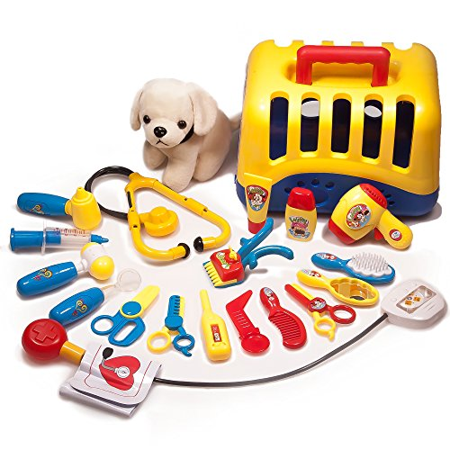 (Doctor Toys & Vet Kit Set – 20 pc Set for Imaginative Play, Fun & Development – Includes Cute Dog, Carrier, Doctor Toy Set, Other Pet Grooming & Care Essentials)