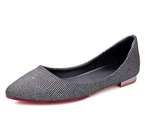 Easemax Womens Trendy Rhinestones Glitter Pointed Toe Low Top Slip On Flats Shoes Black H0UDwU