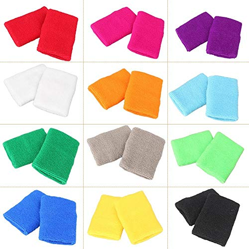 - MALLOFUSA 12 Pairs Colorful Wrist Sweatbands Athletic Cotton Terry Cloth Wristbands for Gym Sports