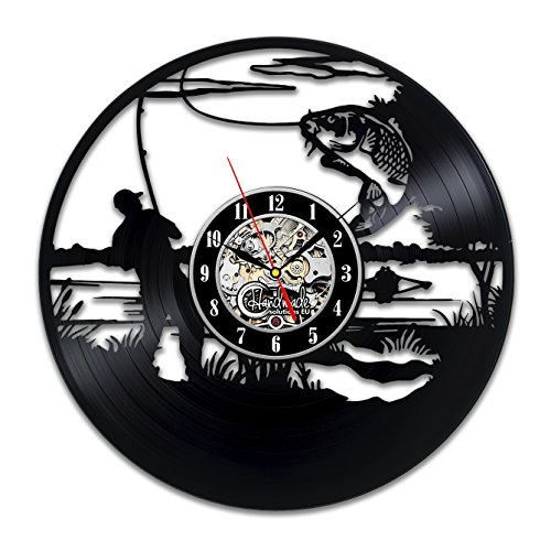 Fishing Clock - Fishing Vinyl Wall Clock Party Decorations Ornaments for Home Fisherman Men Gifts Art Gifts Dad Father Decorations Mens Bedroom Fish Accessories Original Home