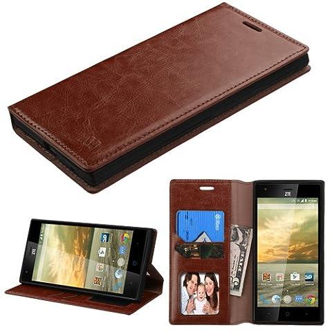 Asmyna Carrying Case for ZTE-N9518 (Warp Elite) - Retail Packaging - Brown (Zte Warp Sync Rubber Phone Case)