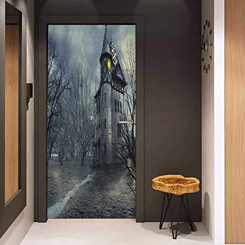 Onefzc Self-Adhesive Wall Murals Halloween Halloween Design with Gothic Haunted House Dark Sky and Leafless Trees Spooky Theme Sticker Removable Door Decal W35.4 x H78.7 Teal]()