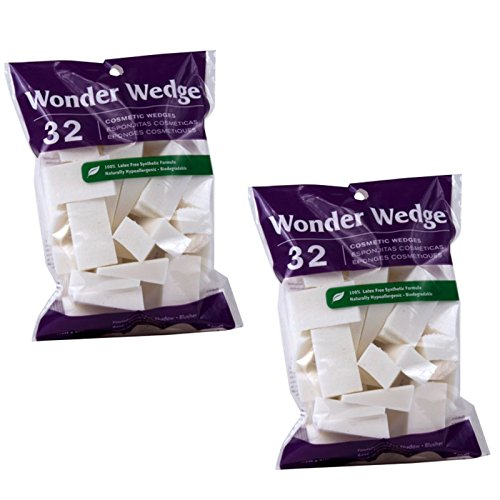 Cosmetic Wedges Made in USA Foam Makeup Sponges Puffs from Wonder Wedge (64 Count - (2 Pack - 32 Count)) by Wonder Wedge Cosmetic Wedges