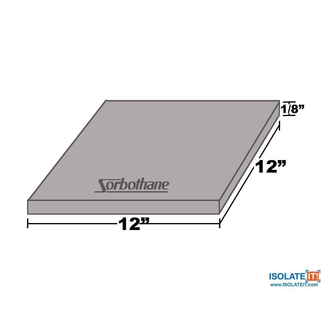 Sorbothane Vibration Damping Sheet Stock (70 Duro, 1/8 x 12 x12in)
