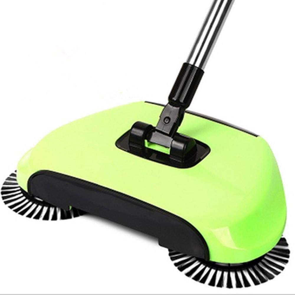 Lazy 3 in 1 Household Cleaning Hand Push Floor Automatic Spin Sweeper Broom, green