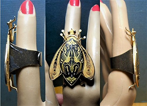- 1 Huge Vintage Damascene Moth Brass Ring w/6 Legs Open Work Wings, Adjustable 5-9 Bonzed Brass Ring Black Enamel Etched Handmade Bug OOAK