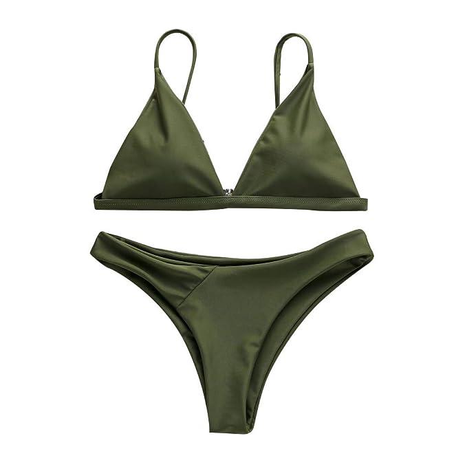 Damen Bikini Satz Push-Up Gepolsterter BH Badeanzug Strand Bademode massiv