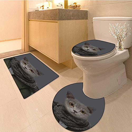 (MikiDa 3 Piece Toilet lid cover mat set cat in jacket Customized Rug Set)