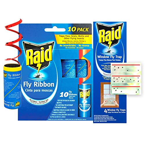 Raid Fly Ribbon & Window Fly Trap Bundle (32-Pack), Outdoor & Indoor Fly Traps, 20pcs Fly Tape Ribbon Traps + 12pcs Window Fly Catcher, Effective Fly Traps for Kitchen & Food Prep Areas