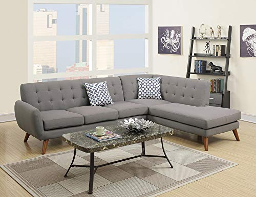 Poundex Bobkona Belinda Linen-Like Polyfabric SECTIONAL in Grey