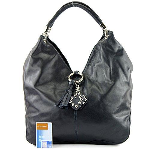 in sac Präzise Made de modamoda Italy bandoulière nur cuir Farbe Farbe à main sac à sac cuir italien 330A Sac sac Nappaleder femme Dunkelblau qXExU