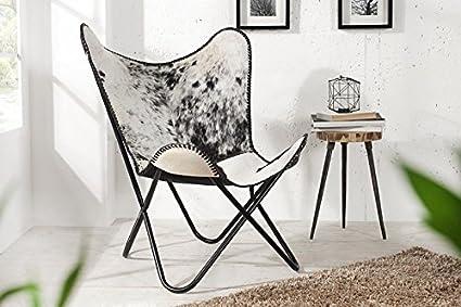 Dunord Design Fauteuil Chaise Texas Peau De Vache Noir Blanc Salon