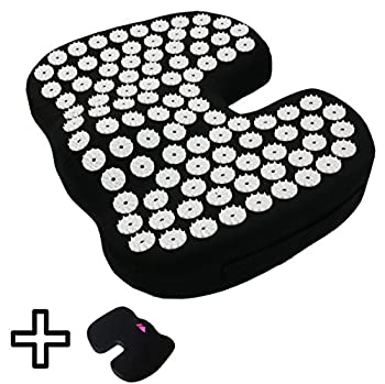 Coccyx Ergonomic Seat Cushion with Acupressure Mat Cover + Plush Cover by FOMI | Memory Foam + Acupuncture Mat for Back, Coccyx, Sciatica and Tailbone Pain Relief | Portable