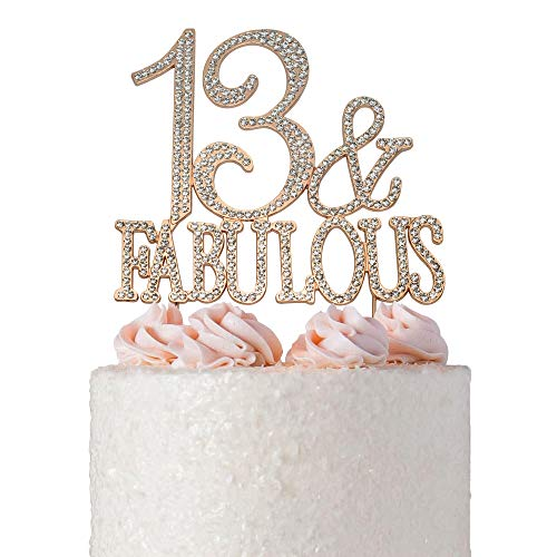 13 and Fabulous Cake Topper | ROSE GOLD | Premium Bling Crystal Rhinestone Diamond Gems | 13th Birthday Party Decoration Ideas | Quality Metal Alloy | Perfect Keepsake