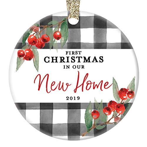 New Home Ornament Christmas 2019 First 1st Time Homeowner Ceramic Collectible Recent House Buyer Present for Family Relative Friend 3