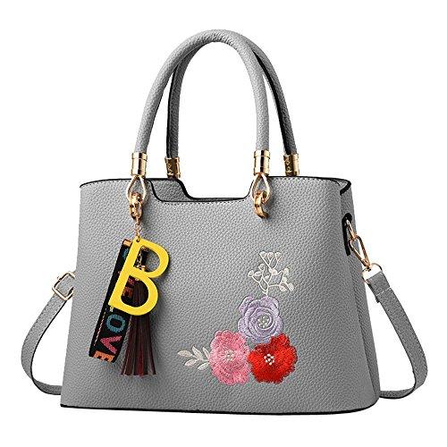 de Mujer Bolso B Con Mano Hombro Borlas Bolsa Flor Casuales Logobeing de Bandolera Bolso Bolsos de xCtqvwpX