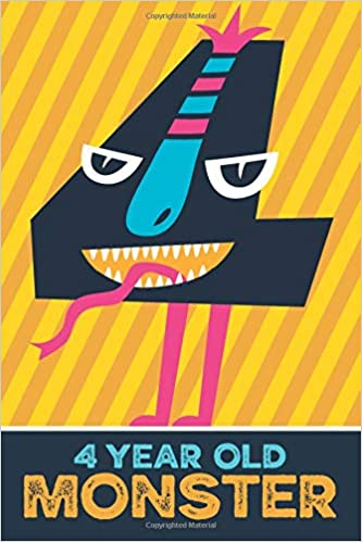 4 Year Old Monster Children S 3rd Birthday Blank Lined And