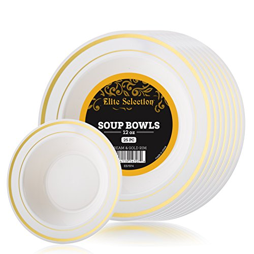 Elite Selection Pack of 25 Soup Bowls Disposable Plastic Party Plates Ivory Cream Color With Gold Rim 12 Oz.