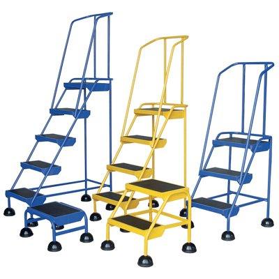 Roll Steel Ladder - Vestil LAD-4-Y Steel Spring Loaded Roll Ladder, 16