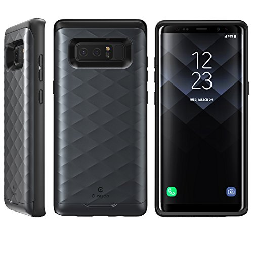 Galaxy Note 8 Case, Clayco [Argos Series] Premium Hybrid Protective Wallet  Case for Samsung Galaxy Note 8 (Built-in Credit Card/ID Card Slot) (Black)