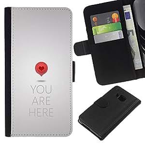 KingStore / Leather Etui en cuir / HTC One M7 / El amor del arte del mapa Cita Corazón Símbolo Rojo