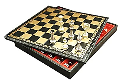 Large Metal Staunton on Leather Chest Chess Set