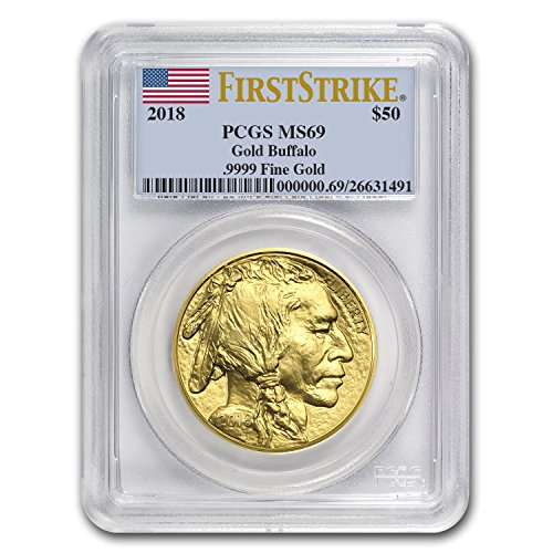 2018 1 oz Gold Buffalo MS-69 PCGS (First Strike, Flag Label) 1 OZ MS-69 PCGS