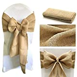 MDS Pack of 100 Natural Burlap Chair Bow Sashes Natural Jute Country Vintage for wedding and Events Supplies Party Decoration- Natural jute Burlap Hessian sashes