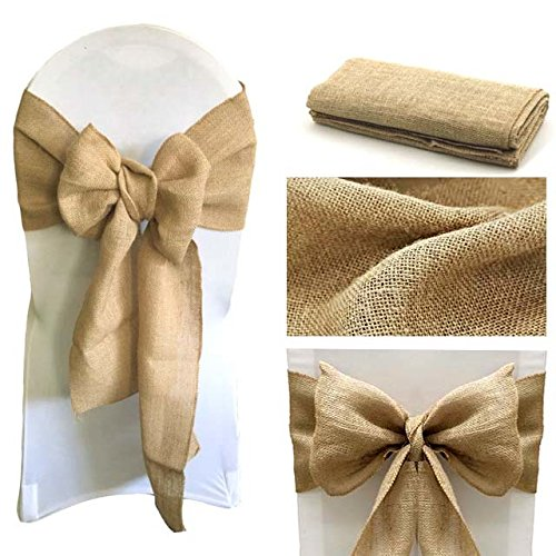 mds Pack of 10 Natural Burlap Chair Bow Sashes Natural Jute Country Vintage for wedding and Events Supplies Party Decoration- Natural jute Burlap Hessian sashes
