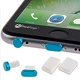 PortPlugs - iPhone 6, 6s, 6s, 7 Plus Aluminum Dust Plug Set - Beautiful Anodized Finish - Lightning Port & Headphone Jack - Includes Cord Holders for Easy Storage (Blue)