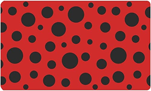 INTERESTPRINT Funny Red Ladybug Ladybird Dots Doormat Non Slip Indoor Outdoor Floor Door Mat Home Decor, Entrance Rug Rubber Backing Large 30 L x 18 W