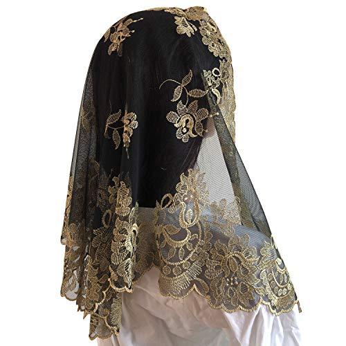Lace Veil Mantilla Catholic Church Chapel Veil Head Covering Latin Mass (black and gold)