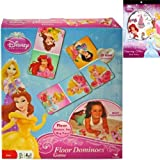 Disney Princess Floor Dominoes Game Gift Set for Kids - 1 Princess Dominos Game (28 Giant Pieces) Plus Princess Temporary Tattoo Sticker Book